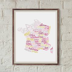 French wine map kitchen print art for cooks bakery by BnitoShop