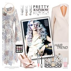 """Pretty Rainbow Pastels"" by esch103 ❤ liked on Polyvore featuring Karl Lagerfeld, Chicwish, Valentino, Christian Dior, The Hand & Foot Spa, MAC Cosmetics, Agent Provocateur, hairtrend and rainbowhair"