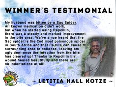 Repcillin cures spider bites for Letitia. Natural remedy for Spider Bites that are poisonous in South Africa