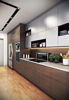 Kitchen Cupboard Designs, Kitchen Room Design, Home Room Design, Interior Design Kitchen, Kitchen Cabinets, House Design, Straight Kitchen, Kitchen Lighting Design, Contemporary Kitchen Design
