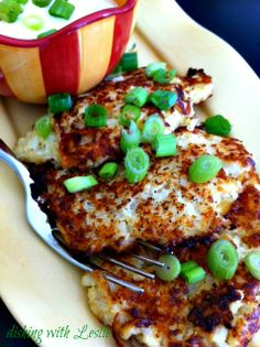 Cheesy Cauliflower Pancakes - to make this very low carb, omit the bread crumbs and substitute crushed pork rinds.