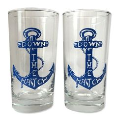 "Nautical ⚓*¨*•.¸¸⛵*¨*•.¸¸ ⚓ Our super rad drinking glasses come in sets of two! Pour one drink for yourself and then pour one for a friend! Our glasses are dishwasher safe and hold 12 oz of goodness! 5.6"" by 2.75"" 12 oz."