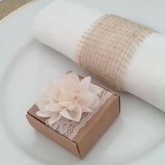 bote drage kraft fleur crme 5 pices - Contenant Drages Mariage Champetre