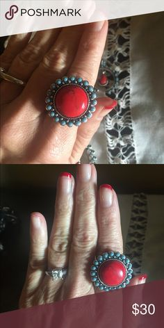 Gorgeous vibrant color! Red Ring by Rock 47. This ring is so pretty on! I have matching necklace and earrings on another listing if interested will sell as a group or separate. Ring is by Rock 47 Wrangler. Costume. Not Sterling. Like brand new. Rock 47  Jewelry Rings