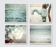 BATHROOM PRINT SET This listing features a curated set of four soft aqua prints perfect for the bathroom. Featuring two beach landscapes, a rustic water pump and a soft teal hydrangea. Display these four prints as a wall gallery, on separate walls, stacked - any way you choose! Their soft pastel blue colors tie your cottage bathroom decor together perfectly. $ Price reflects a 20% discount off photographs and 10% off canvas. ☞ Select PHOTOS, MATTED PHOTOS or CANVAS & Size from drop-down ...