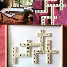 DIY décoration tableau/encadré Scrabble pour la famille