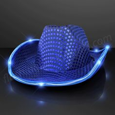 Say Howdy to this Blue Sequin Cowboy Hat with Blue LED Brim. It is the All American attire you've been looking for! Show your patriotic side by rockin' one of these light up cowboy hats this July 4th!