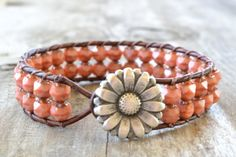 Single wrap cuff leather bracelet Coral double by jessicasserenity, $43.00