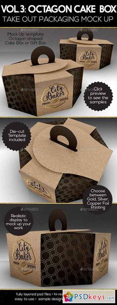 Packaging Mock Up Octagon Cake or Pastry Take Out Boxes VOL.3 16825782