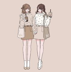 Sweet Castle added a new photo. Cute Art Styles, Cartoon Art Styles, Cartoon Drawings, Cute Drawings, Friend Anime, Anime Best Friends, Character Art, Character Design, Anime Sisters