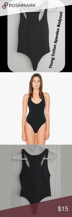 """Cotton Spandex Black Thong Bodysuit This sexy racerback tank style bodysuit features a thong cut bottom. Great for tight jeans without the ugle panty line! Plunging v-neckline. Fabric is smooth and made of medium thickness and has a bit of stretch for a figure-flattering fit. 95% Combed Cotton, 5% Spandex. Great condition! Washed. Size Small - approximately 23 1/8"""" in total length. Model is?5'10""""?and wearing a size?S. Great for going out! American Apparel Other"""