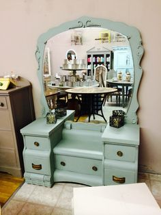 Vintage Vanity painted in Amy Howard One Step Cartouche Green.   www.facebook.com/vintagedreamzzz