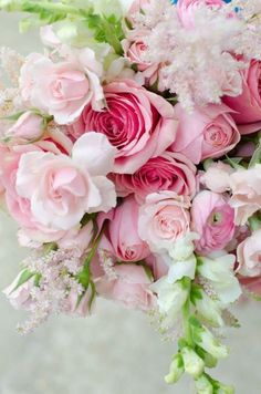 The Rose Garden pink and white flowers roses astillbe snapdragons rannuculus and stock/ volusiacountyweddings/ www.callaraesfloralevents.com