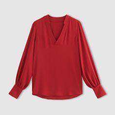 38e6e22128edf5 Bluzka, dekolt w serek, luźny rękaw z szerokim mankietem R Édition | La  Redoute