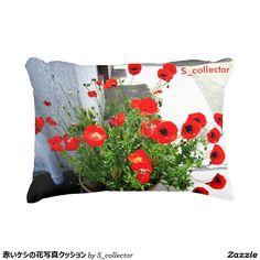 赤いケシの花写真クッション