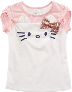 Hello Kitty Toddler Girls Sequin Bow T-Shirt - Ivory/Cream Little Girl Fashion, Little Girl Dresses, Kids Fashion, Baby Shirts, Kids Shirts, Tee Shirts, Hello Kitty T Shirt, Baby Clothes Shops, Girl Outfits