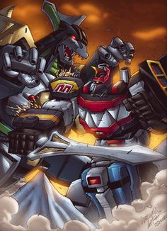 Megazord vs Dragonzord by Marcelo Matere Power Rangers Poster, Power Rangers Fan Art, Power Rangers Comic, Power Rangers Zeo, Mighty Morphin Power Rangers, Ranger Armor, Power Rengers, Japanese Robot, Pokemon