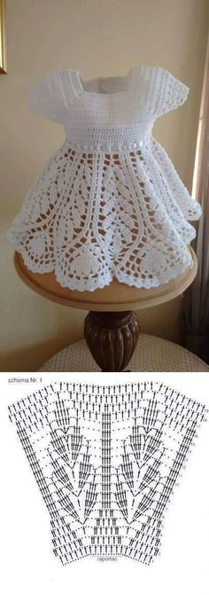 Baby Knitting Patterns Shawl Learn how to knit baby dress Crochet Dress Girl, Knit Baby Dress, Crochet Girls, Crochet Baby Clothes, Crochet For Kids, Crochet Lace, Crochet Stitches, Crochet Dresses, Baby Knitting Patterns