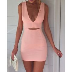 Sexy V-Neck Sleeveless Hollow Out Solid Color Women's Dress