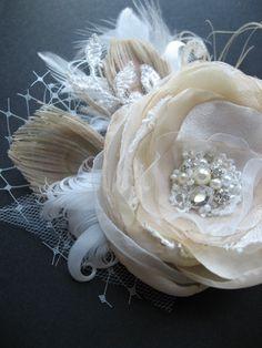Wedding bridal hair accessories, wedding headpiece fascinator, flower hair clip, peacock fascinator, vintage rustic beige ivory tulle on Etsy, $44.00