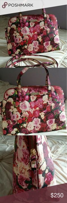 """Kate Spade Grant Street Small Rachelle Roses Multi Like new. No signs of use or wear. Clean interior. Comes from smoke-free home. Dustbag and cards included.    SIZE 9""""h x 12.5""""w x 4.9""""d drop length: 4.3"""" handheld total strap length: 45.3"""" MATERIAL printed pvc with matching trim capital kate jacquard lining 14-karat light gold plated hardware style # wkru3253 DETAILS satchel with zip top closure and an adjustable, removable strap dual interior slide pockets and interior zipper pocket kate…"""