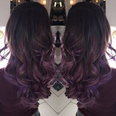 Silver Ombre silver hair grey hair Balayage violet purple healthy hair curls