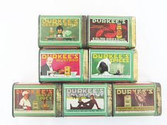 A unique group of 7 Durkee spice tins, each different and unusual. Little works of art for your kitchen!