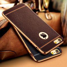 Lusso ultra sottile in pelle modello vintage phone case per iphone 7 5 5 S SE 6 6 S/Più Placcatura Tpu Della Copertura Posteriore del Silicone Capa