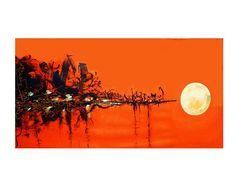 Orange PRINT Painting Hawaii Hawaiian moon Office #art #print #giclee @EtsyMktgTool http://etsy.me/2ijl9aI