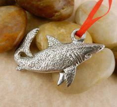 Shark Pewter double sided Christmas Ornament