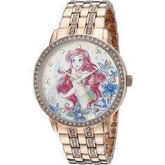 Disney The Princess The Frog Women's W002518 Ariel Analog Display... (94 CAD) ❤ liked on Polyvore featuring jewelry, watches, quartz jewelry, red gold jewelry, quartz watches, frog jewelry and disney jewellery