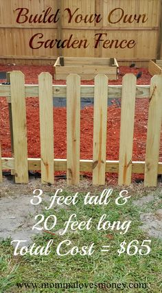 Own DIY Garden Fence Adorable and affordable DIY garden fence with a functional gate. Step by step instructions with lots of pictures.Adorable and affordable DIY garden fence with a functional gate. Step by step instructions with lots of pictures. Small Garden Fence, Unique Garden, Backyard Fences, Garden Fencing, Fenced In Yard, Easy Garden, Garden Landscaping, Home And Garden, Picket Fence Garden