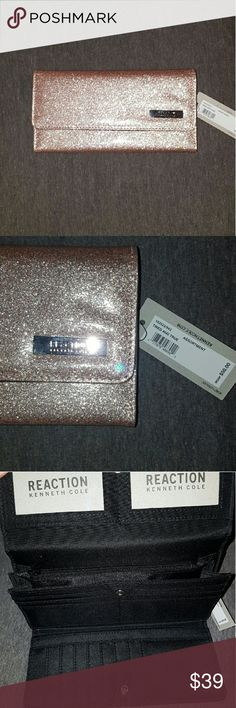 Kenneth Cole Reaction wallet Rose gold glitter.  Nwt, black inside. 2 windows for license and whatever you want.  Plenty of card slots. Beautiful color.  Zipped pocket on back. Kenneth Cole Reaction Bags Wallets