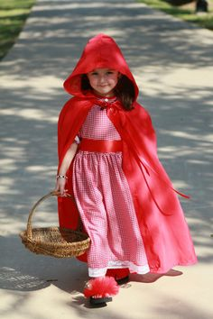 Vintage Teen Tween Girls Toddler Baby Little Red Riding Hood Halloween Costume Dress and Cape Set Sizes 6 month -24 month, 3T - 5T, 6 - 14