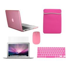 "TopCase Macbook Pro 13"" 13-inch (A1278/with or without Thunderbolt) 5 in 1 Bundle - PINK Crystal Hard Case Cover + Matching Color Soft Sleeve Bag +Wireless Mouse + Silicone Keyboard Cover + LCD HD Clear Screen Protector -NOT FOR RETINA DISPLAY- with TopCase Mouse Pad by TOP CASE, http://www.amazon.com/dp/B008RO9NI6/ref=cm_sw_r_pi_dp_AyNdrb1JQCRKG"