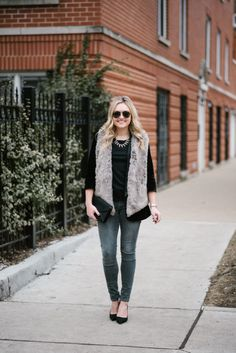 Winter Outfit: Black tee+grey denim jeans+black pumps+ black layered Velvet Blazer +taupe faux Fur Vest+black envelope clutch+necklacetaviator sunglasses— bows & sequins. Winter Dressy Casual Outfit 2017