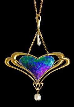 I've got to try to mimic this color! ARCHIBALD KNOX 1864-1933  Liberty & Co Pendant  Gold Enamel Pearl  British, c.1900