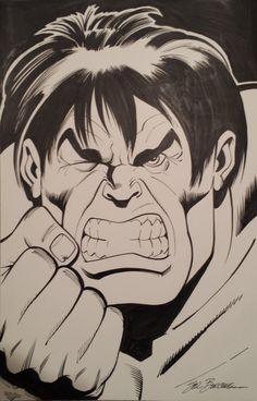 Bob Larkin Hulk homage by Sal Buscema, in Dave W's Bob Larkin Homage Gallery - Hulk poster Comic Art Gallery Room Sal Buscema, Hulk Smash, Green And Grey, Gray, Comic Artist, Investing, I Am Awesome, Fans, Comic Books