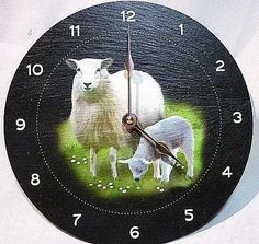 SHEEP NATURAL SLATE  CLOCK ~ NEW ~