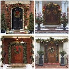 Front doors decorated for Christmas