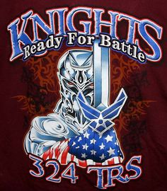 USAF UNITED STATES AIR FORCE KNIGHTS READY FOR BATTLE T-SHIRT Adult M Maroon