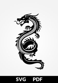 SVG / PDF cut file, paper cutting templates, dragon, tribal tattoo, paper cut … - Famous Last Words Tribal Dragon Tattoos, Small Dragon Tattoos, Dragon Tattoo For Women, Chinese Dragon Tattoos, Small Tattoos, Cool Tattoos, Japanese Tattoos, Dragon Tattoo Designs For Back, Dragon Tattoo Female