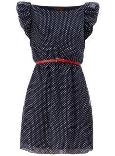 Dorothy Perkins Navy Spot Pleat Dress