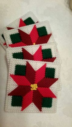 Red poinsettia coaster set of 4.  Handmade.