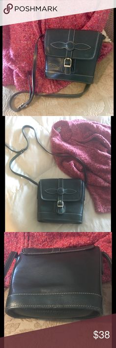 """Vintage PREGO handbag/Cross-body Authentic, Italian made PREGO crossbody with adjustable 24"""" drop strap. Sturdy pebbled leather in a deep forest emerald tone. Buckle front closure. Beautiful bag for the artist in you!  💖 Prego Bags"""