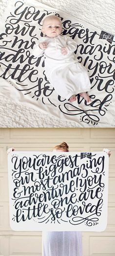 """Spoil your newest addition or a lovely mama with this hand lettered baby swaddling blanket. Super soft organic knit fabric is printed with an original illustration reading, """"You are our biggest & most amazing adventure! You little one, are so loved."""" The adorable message is professionally printed and each swaddle cloth is cut, sewn and packaged by hand, arriving ready to nestle a newborn."""