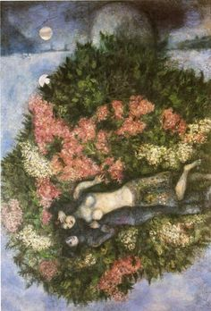 lovers in the lilacs, chagall