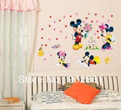 [funlife]-Mickey and Minnie Mouse Love Couple Kids room Wall Art Mural stickers Decals Wall paper