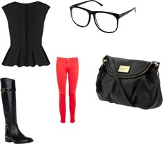 """Cute Fall/Winter outfit"" by msjade812 on Polyvore.. this would be cute with flats too... anyways... black peplum shirt - pink skinny jeans- black nerd glasses- black boots"