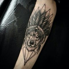Awesome Wolf Tattoo Ideas - Best Wolf Tattoos For Men: Cool Wolf Tattoo Designs and Ideas For Guys - Howling, Snarling, Angry, Alpha, Wolf Pack Tribal Tattoos Native American, Native American Wolf, Native Tattoos, American Indian Tattoos, American Indians, American Symbols, American History, Taino Tattoos, Wolf Tattoo Design